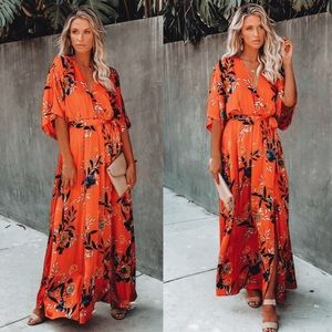 Vici Wildflower Satin Kimono Maxi Dress